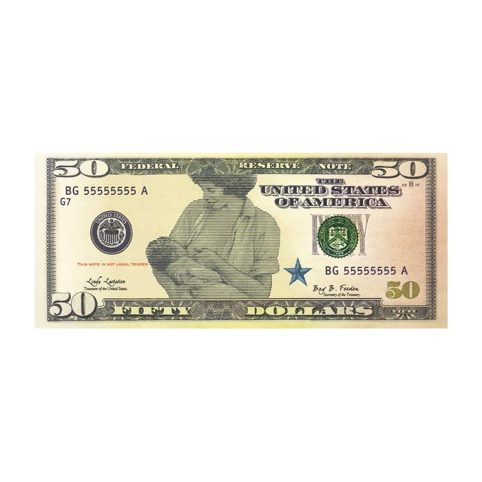 Breastfeeding Money Sets of 100, $50 bill play money illustration breastfeeding mom benefits on back, Childbirth Graphics, 78984
