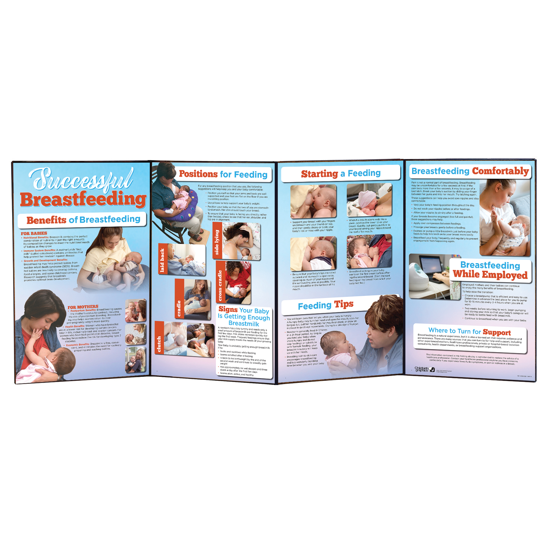 Successful Breastfeeding Folding Display for lactation education from Childbirth Graphics to teach importance of and how to breastfeed effectively
