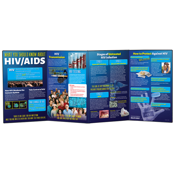 What You Should Know About HIV / AIDS educational folding display from Health Edco for health and sex education, 79084