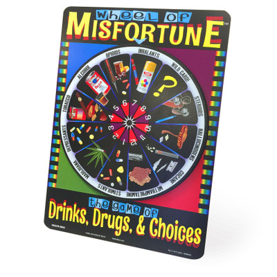 Wheel of Misfortune health education game from Health Edco for teens about alcohol, drugs, and healthy choices, 79117