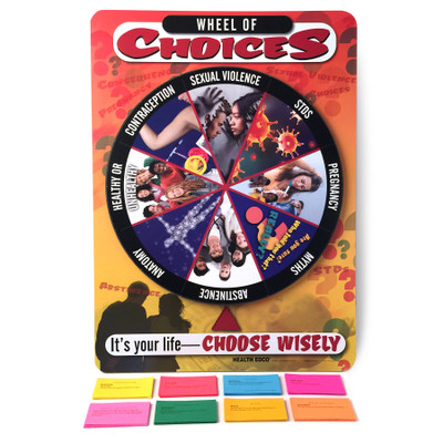 Wheel of Choices Game for sex education from Health Edco with a spinning teaching category wheel and question cards, 79122