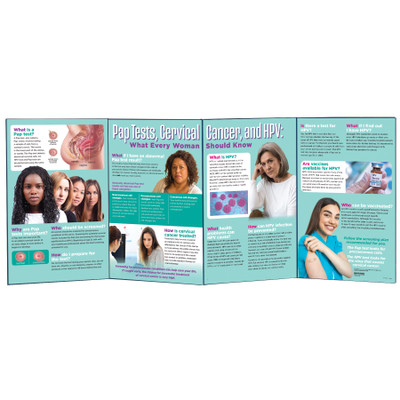 Pap Tests, Cervical Cancer and HPV Folding Display, women's health education display and teaching tools, Health Edco, 79311