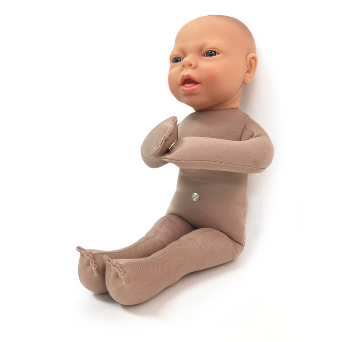 Fetal Model, soft cloth beige baby model side view with snaps to connect placenta model, Childbirth Graphics, 79814