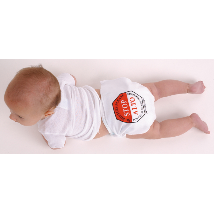 No Bottles Please Diaper, stop sign printed bilingual message on back of diaper, Childbirth Graphics, 79817