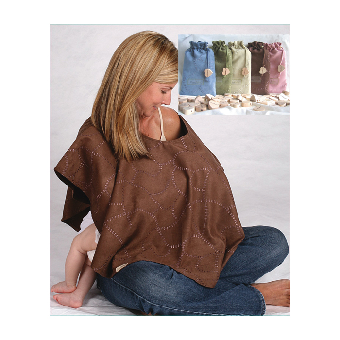 L'ovedbaby Nursing Shawl Brown, blonde female breastfeeding baby discreetly brown shawl, Childbirth Graphics, 85030