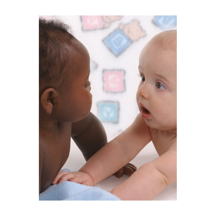 Babies Print, black female white male babies looking at each other baby blanket background, Childbirth Graphics, 85249