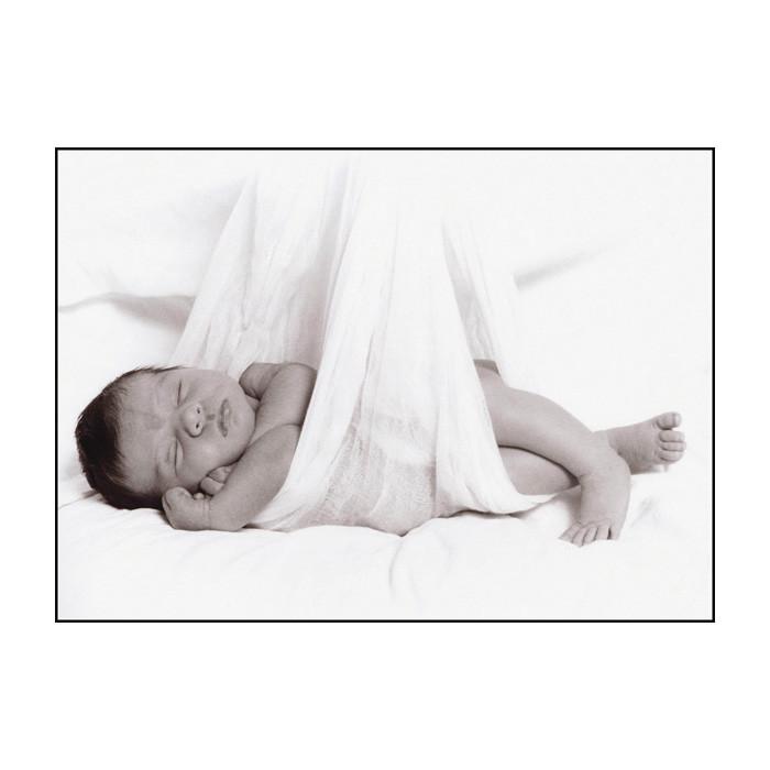 Bundle Print, newborn sleeping in gauze blanket as though stork delivered, Childbirth Graphics, 89223