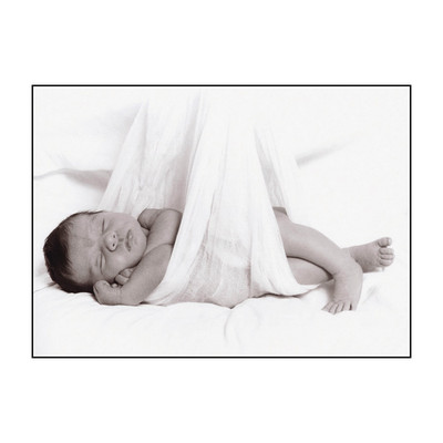 Bundle Print, newborn sleeping in gauze blanket as though stork delivered, Childbirth Graphics, 89223