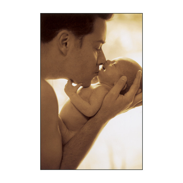 Father's Love Print, full color image father kissing baby's chin with baby smiling, Childbirth Graphics, 89251