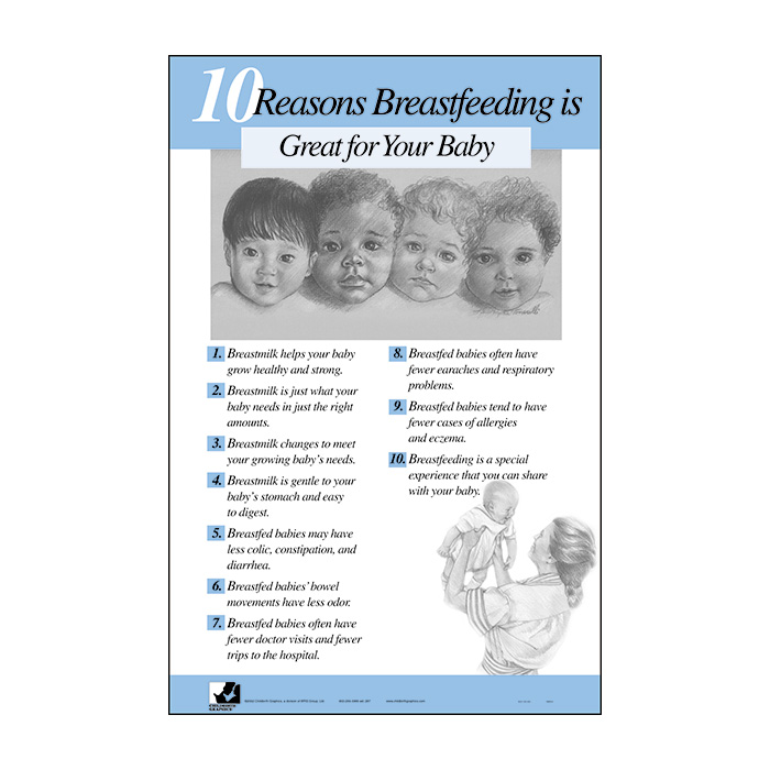 10 Reasons Breastfeeding is Great for your Baby Chart, 2-color 23 x 35 illustrated poster reasons listed, Childbirth Graphics, 89522