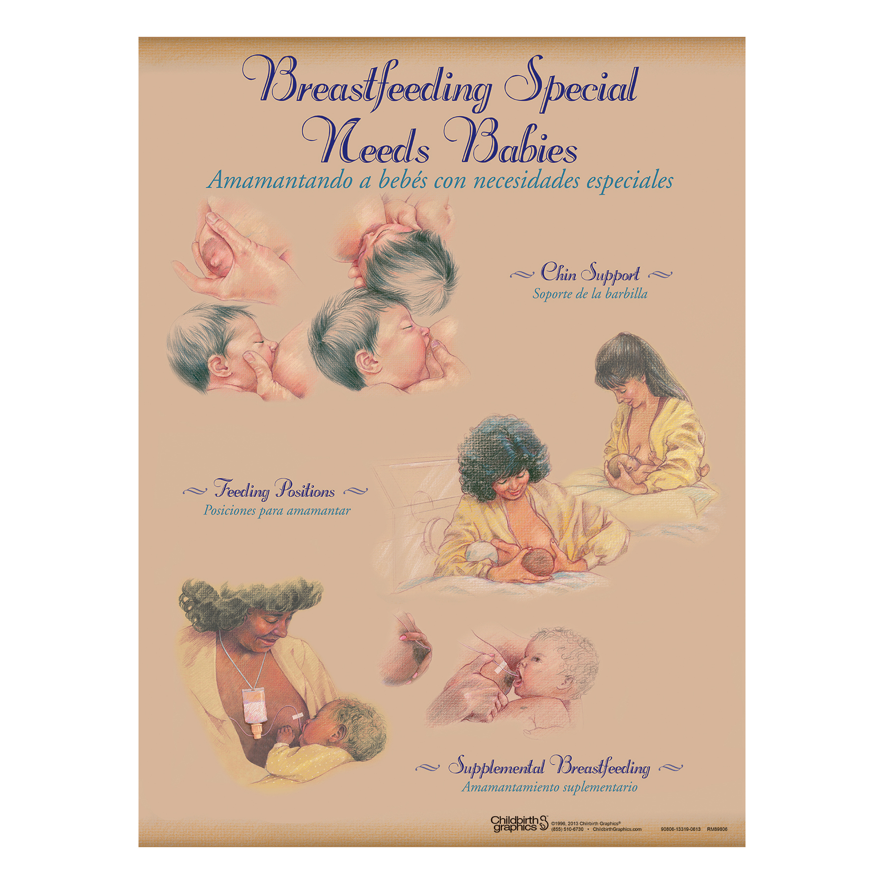 Breastfeeding Chart Set (8), illustrated chin support feeding positions supplemental feeding, Childbirth Graphics, 90809