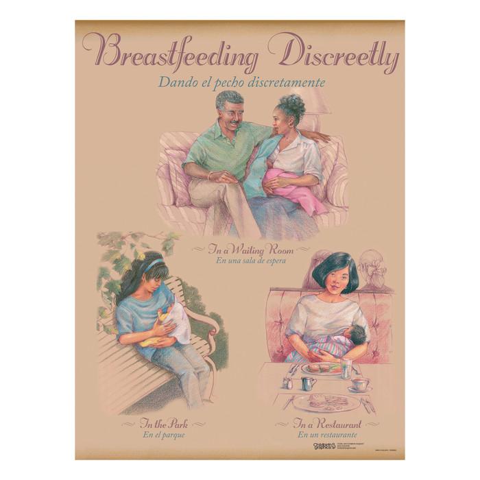 Breastfeeding Chart Set (8), illustrated breastfeeding discreetly waiting room outside restaurant, Childbirth Graphics, 90809