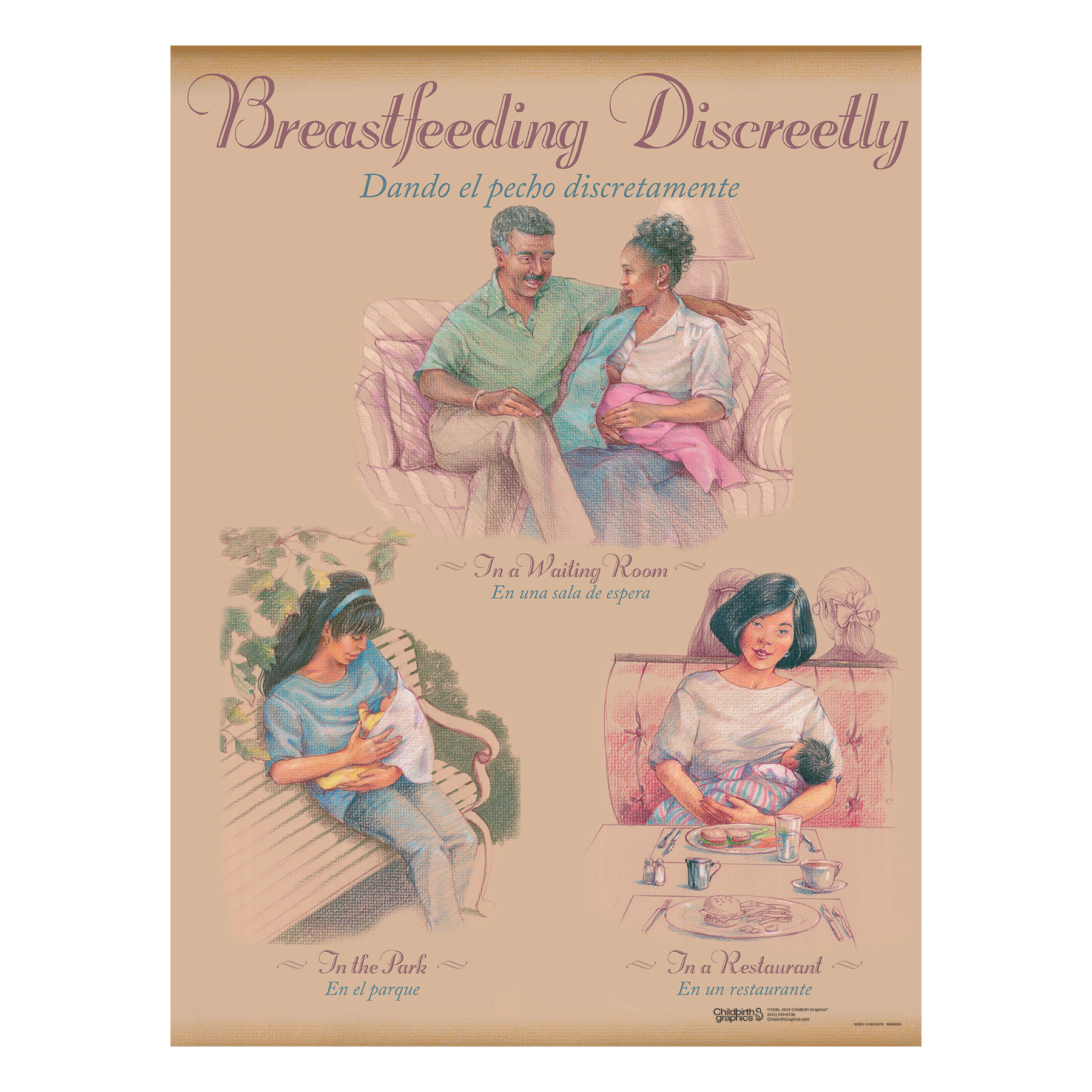 Breastfeeding Chart Set (8), illustrated breastfeeding discreetly waiting room outside restaurant, Childbirth Graphics, 90809