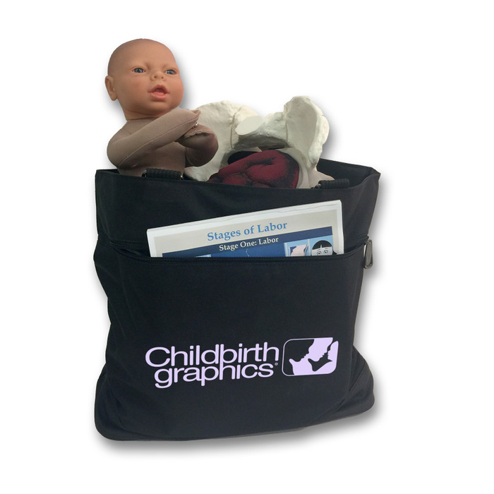 Childbirth Graphics Tote Bag filled with childbirth education model sets and other childbirth educator teaching tools, 92866