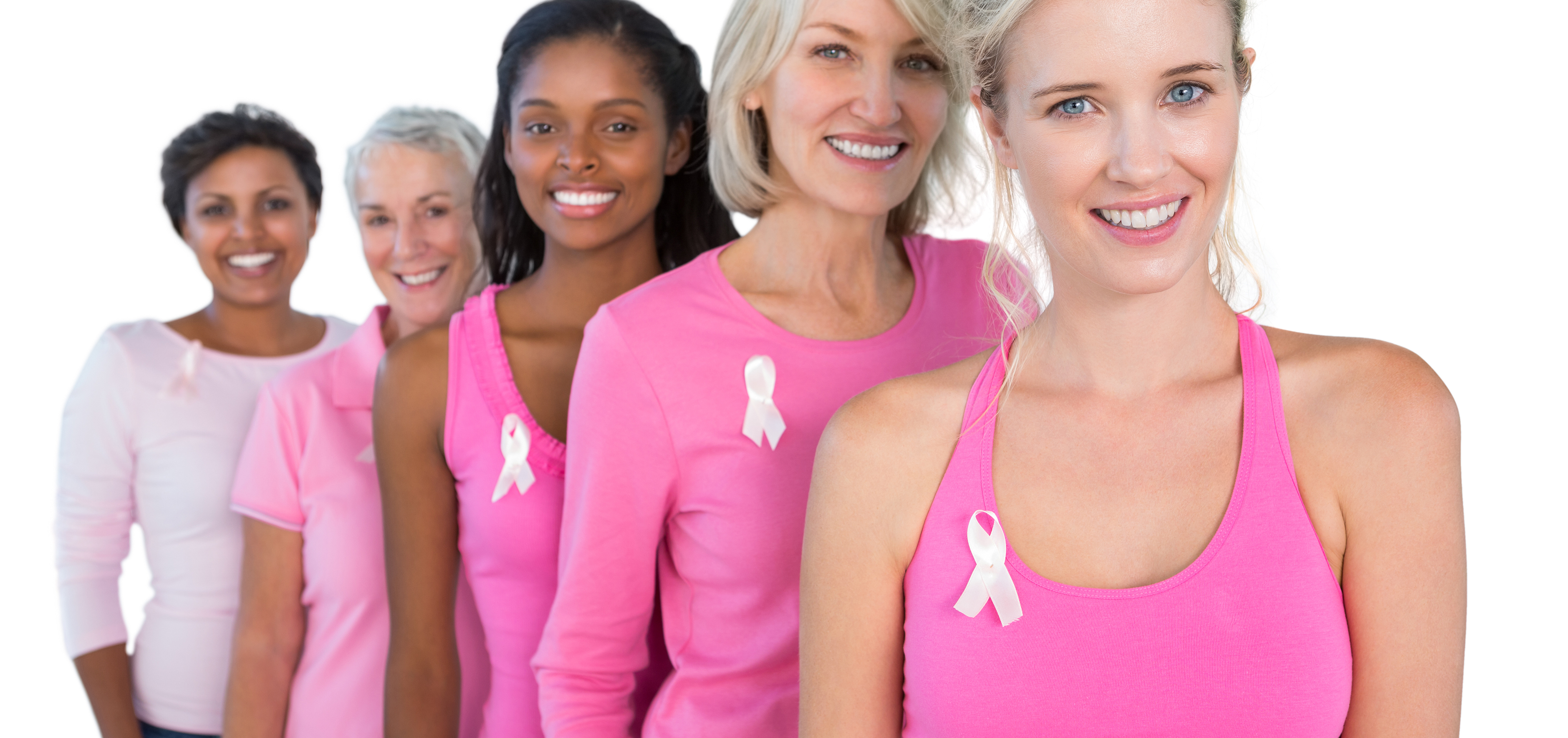 Women promoting breast cancer awareness